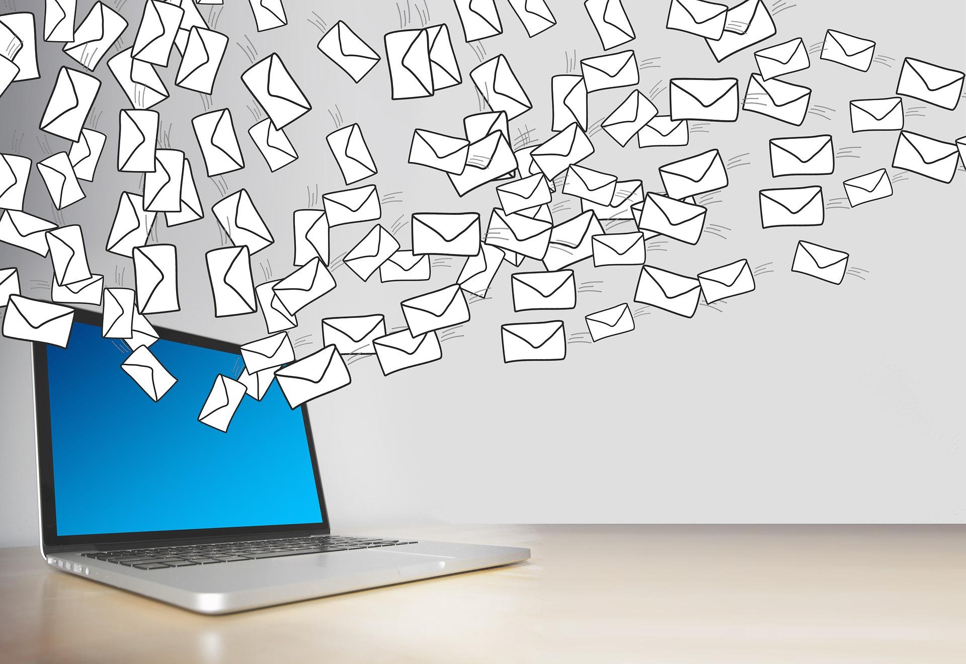 Illustration - a laptop releasing many envelopes