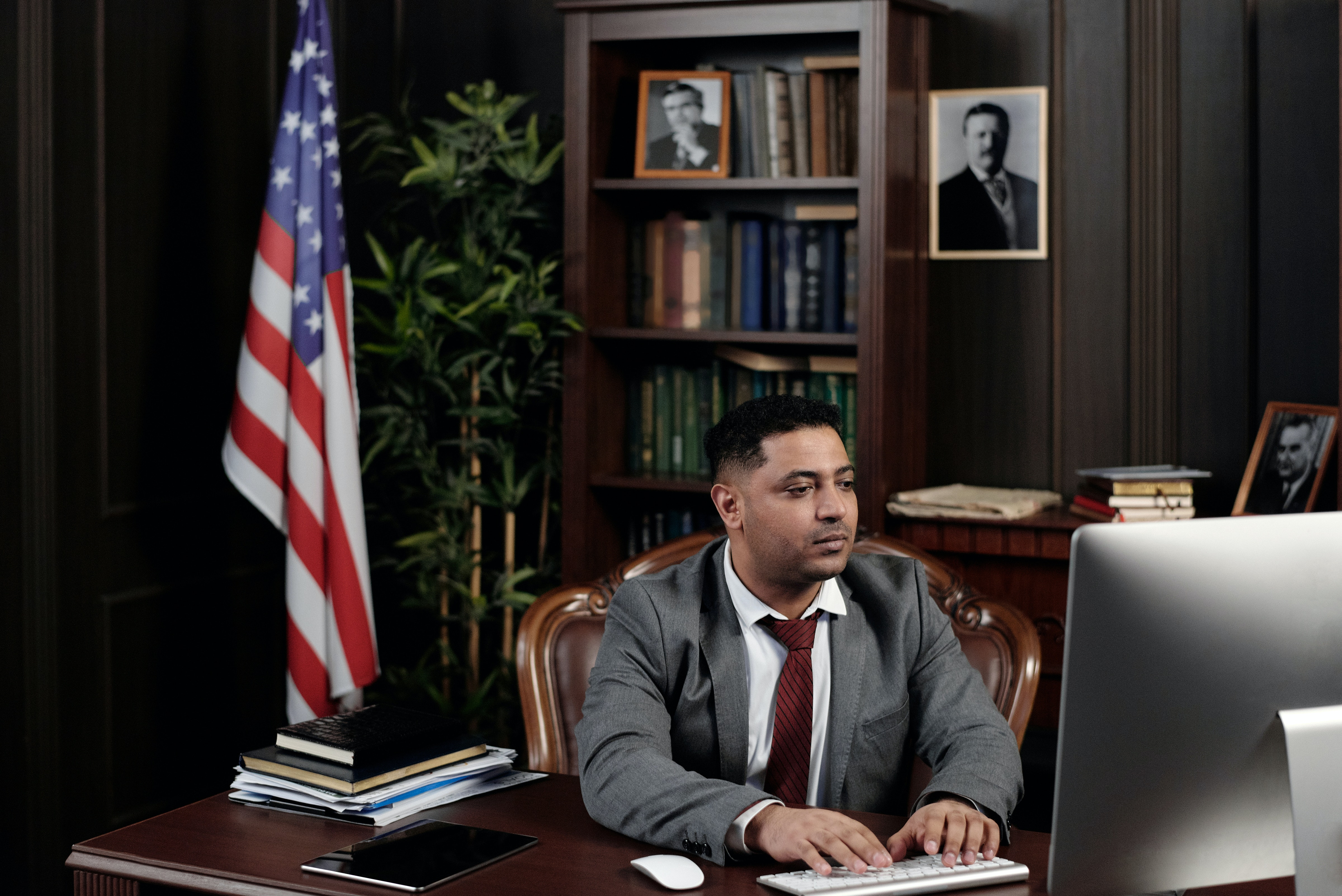 Lawyer working at his computer